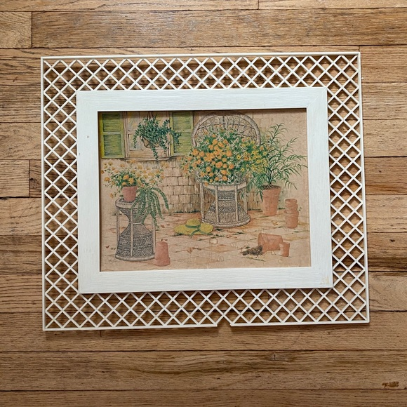 Vintage Wicker Chair and Plants Framed Picture